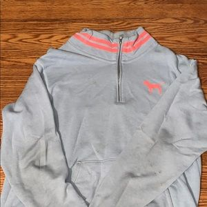 grey and pink PINK quarter zip pullover size M